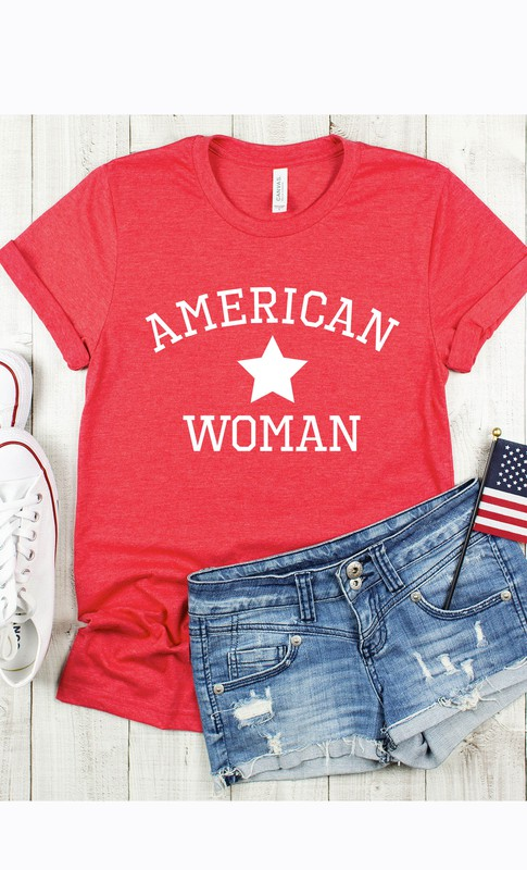 Women's red Patriotic graphic tee