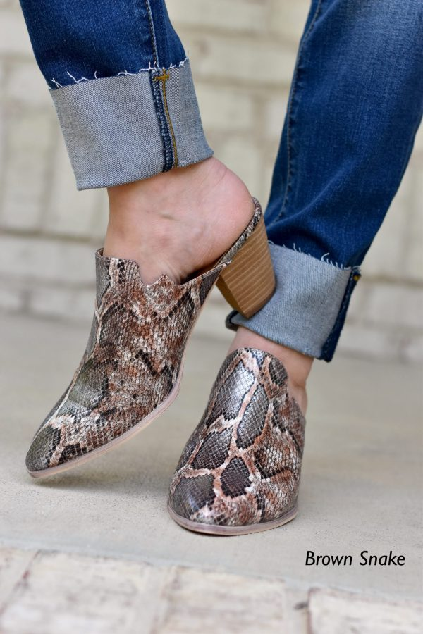 corkys haisley mules in brown snake