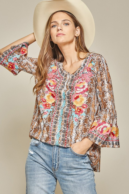 Andree Snake boho belle sleeve embroidered blouse top