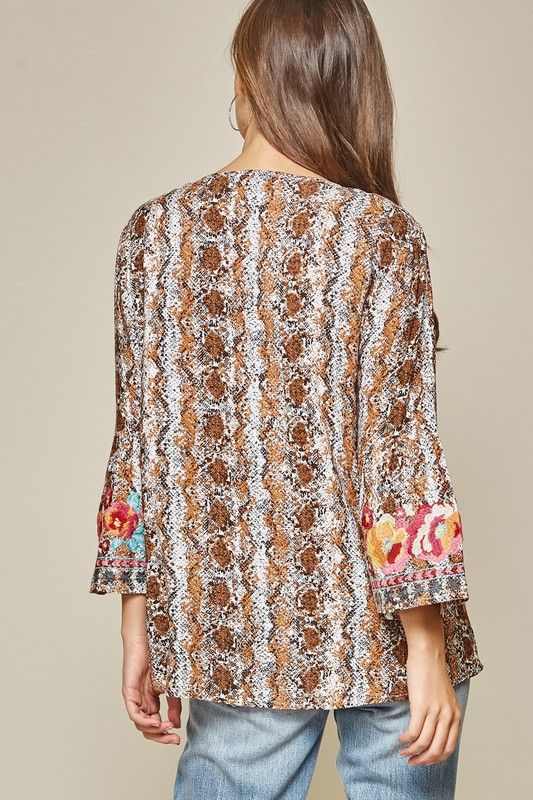 snake sleeve boho embroidered blouse