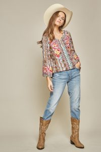 andree embroidery western boho belle sleeve blouse
