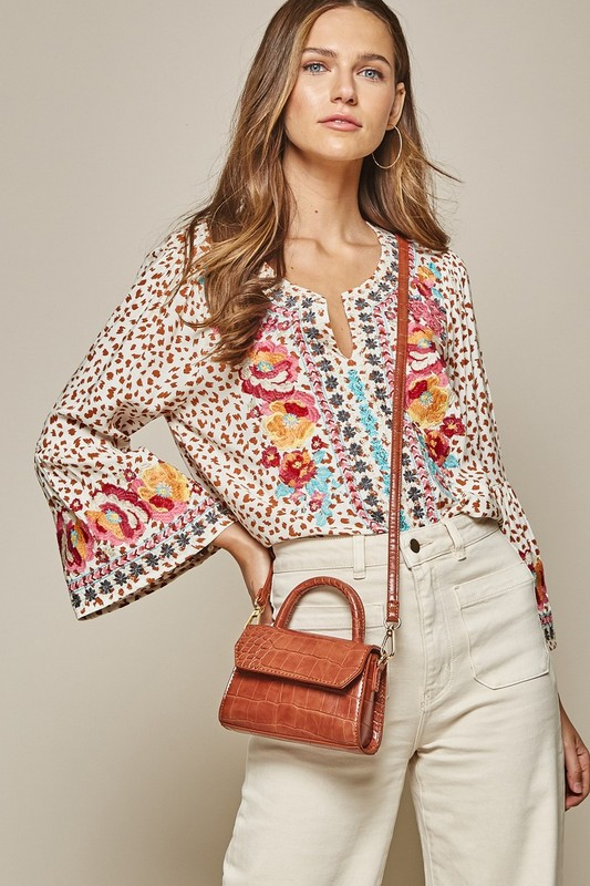 cheetah boho sleeve embroidered blouse