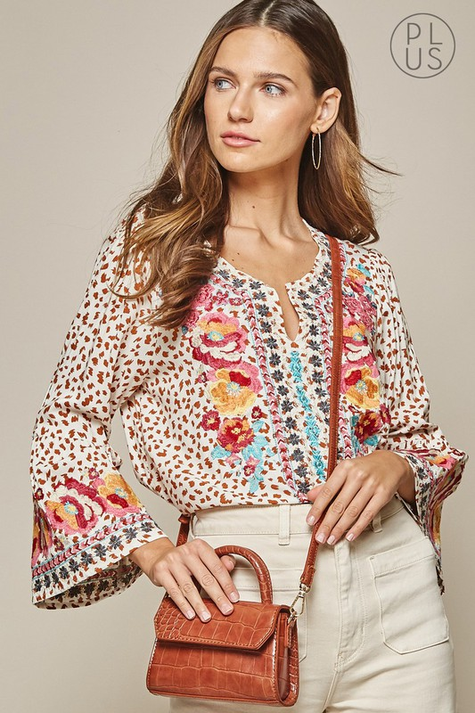 andree bell sleeve animal print blouse