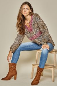 andree embroiderd leopard belle sleeve boho western blouse