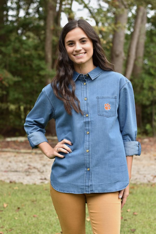 clemson tiger denim button down top