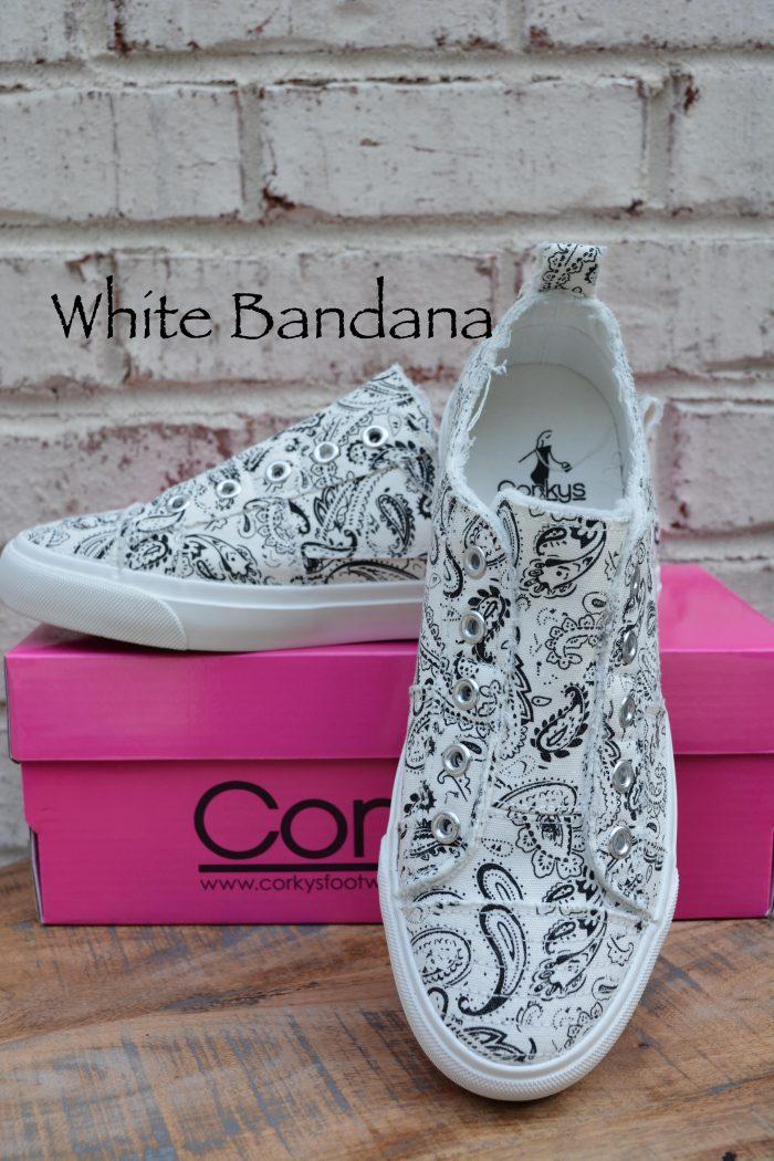 white bandana laceless sneakers