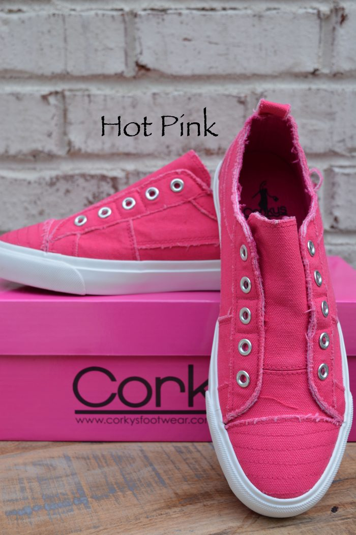 Corkys hot pink laceless sneakers