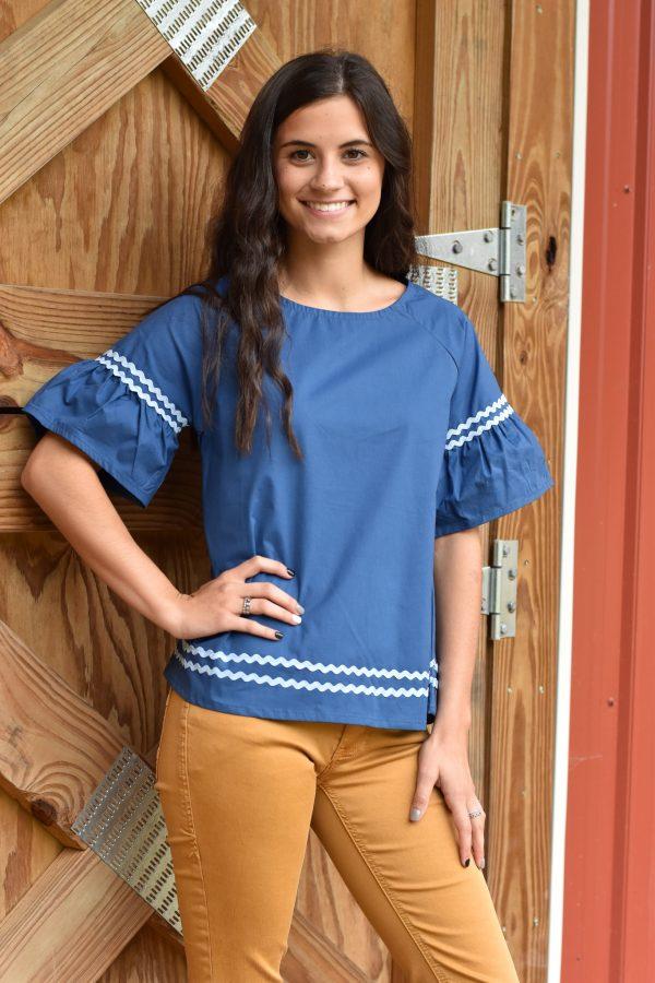 rick rack ruffled short sleeve cotton blouse