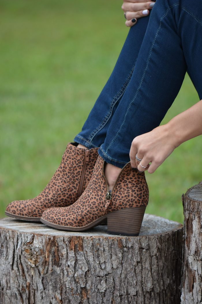 Corkys small leopard zippered tombstone bootie