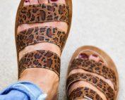 corkys leopard slide sandal