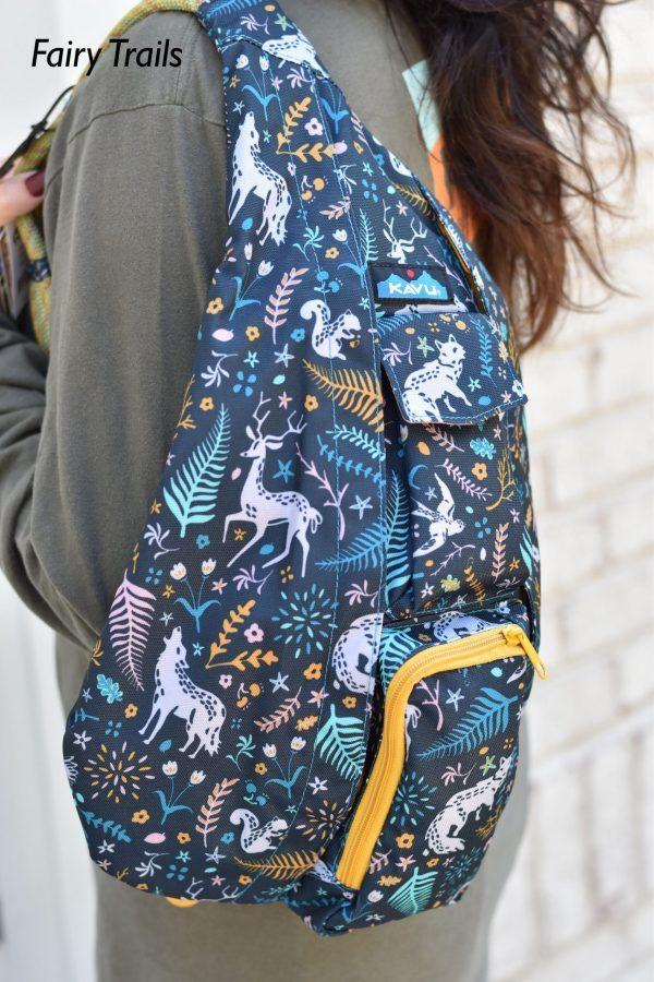 KAVU Fairy Trails rope sling crossbody book bag