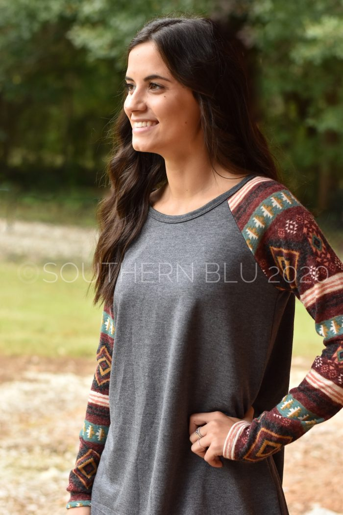 Aztec sleeve tunic baseball sleeve