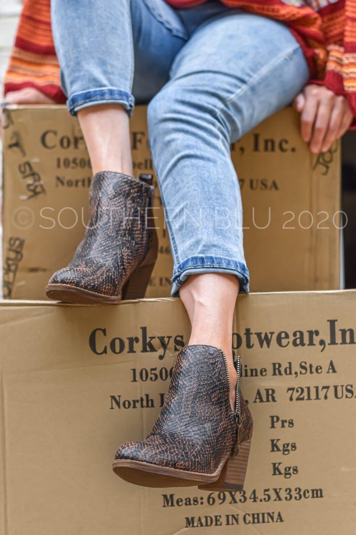 Corkys tombstone brown snake booties