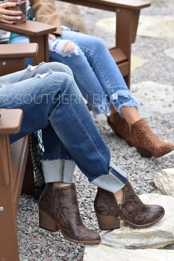 Corkys tombstone brown snake small leopard booties