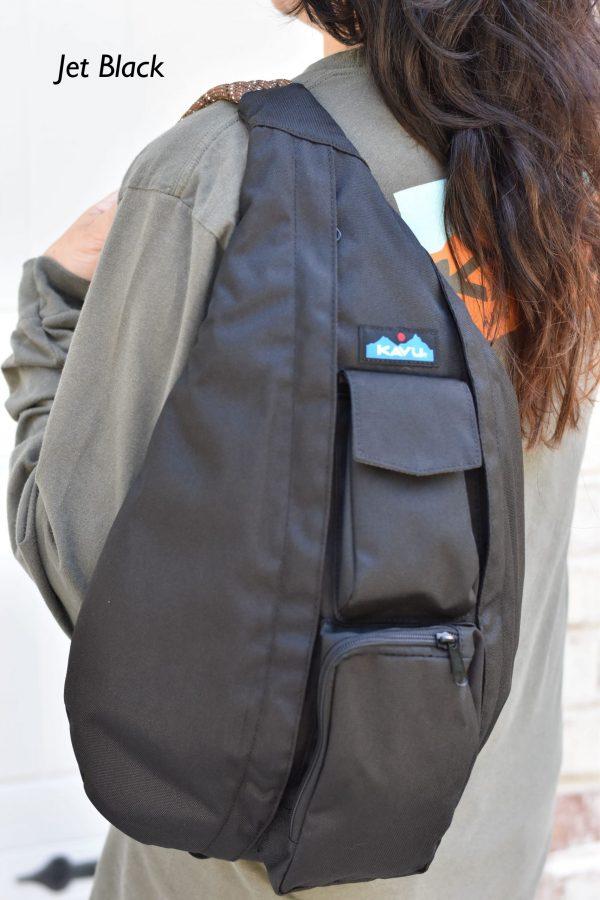 KAVU jet black rope bag book bag crossbody