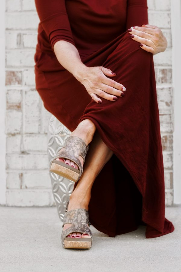 dark red dress and shoes