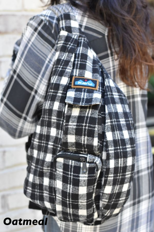 kavu flannel rope bag oatmeal plaid