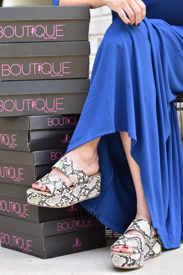 snake skin wedge and blue dress