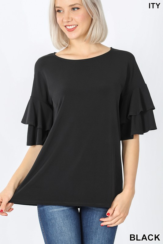 Black double ruffled blouse