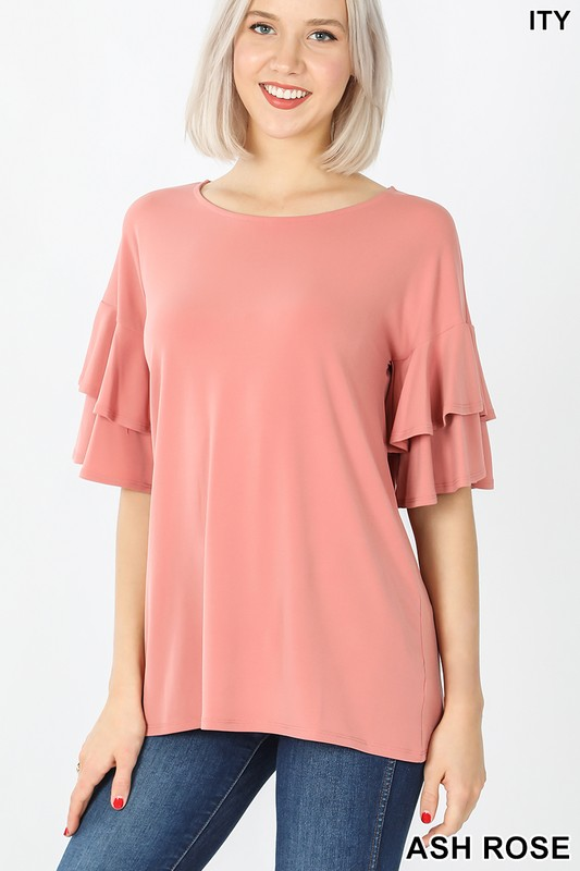 Ash rose ruffled top