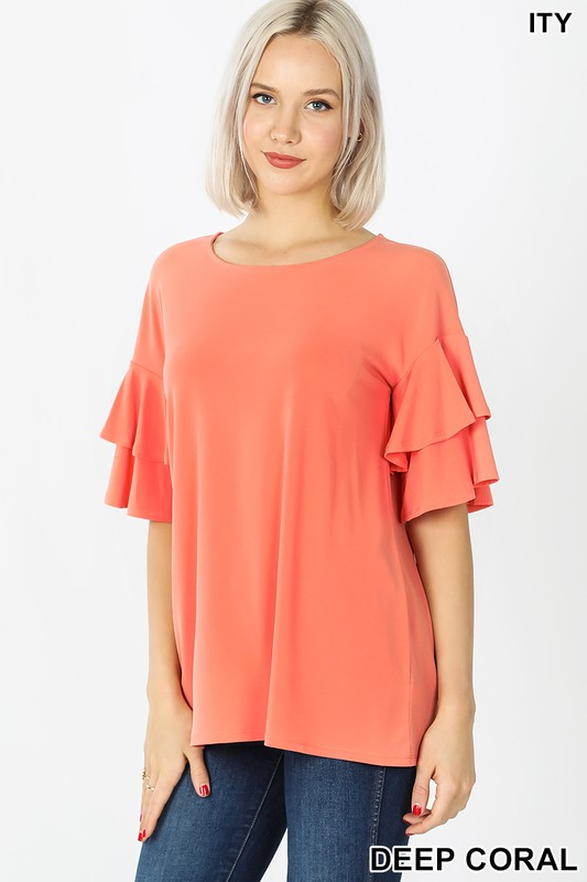 deep Coral ruffled blouse