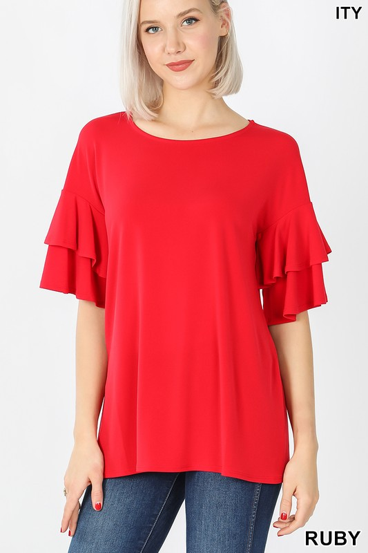 Red ruffled blouse