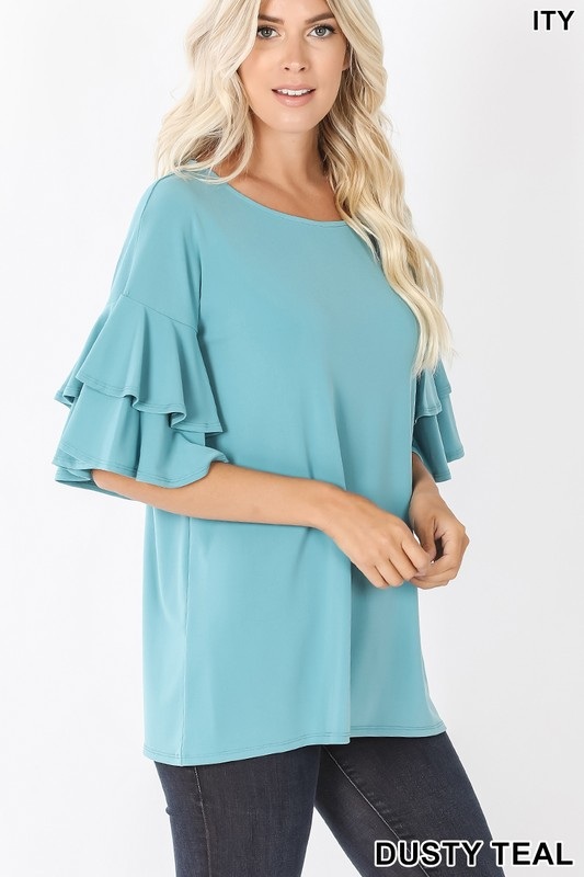 Dusty teal double ruffled blouse
