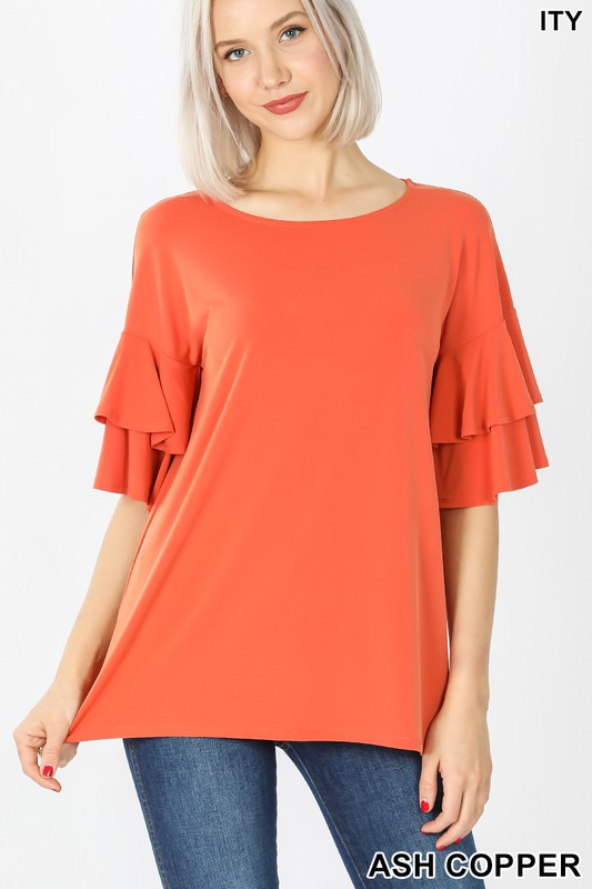 Ash copper double ruffle blouse