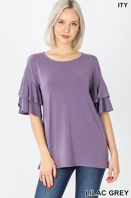 Liliac double ruffle blouse