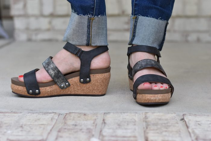 Corkys cona black wedge metallic open toe shoe