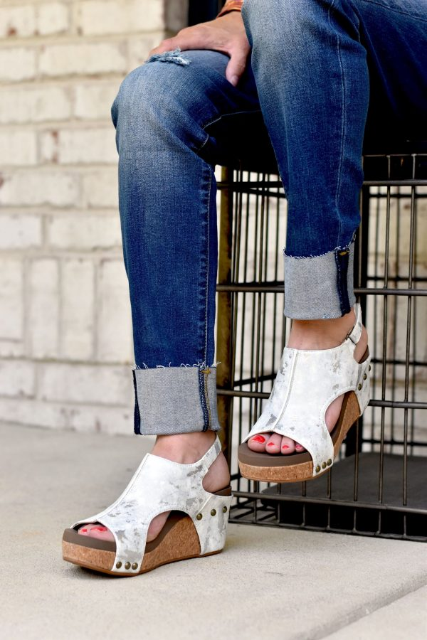 carley corkys wedge white eva foam shoes heels
