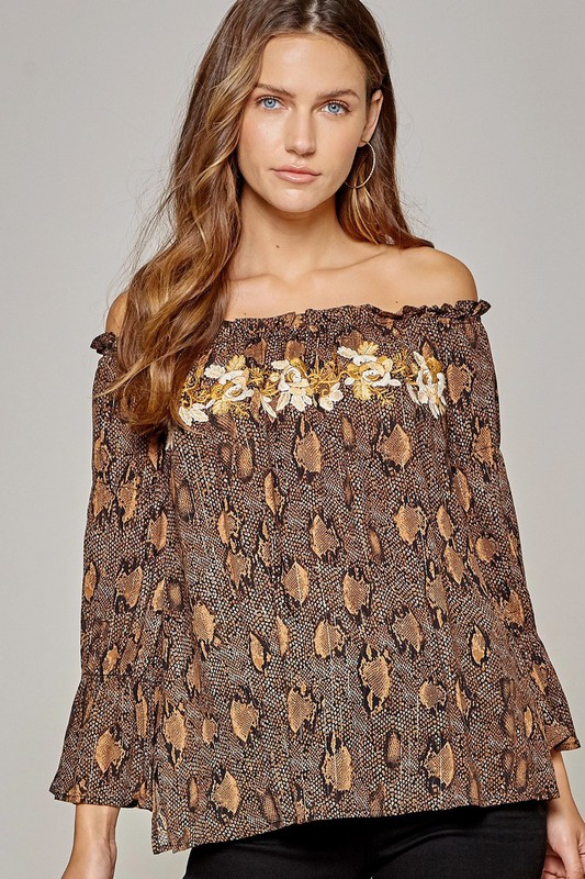 Zoey off shoulder blouse embroidered top