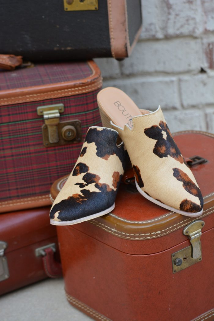 cow print mule shoes wedge leather