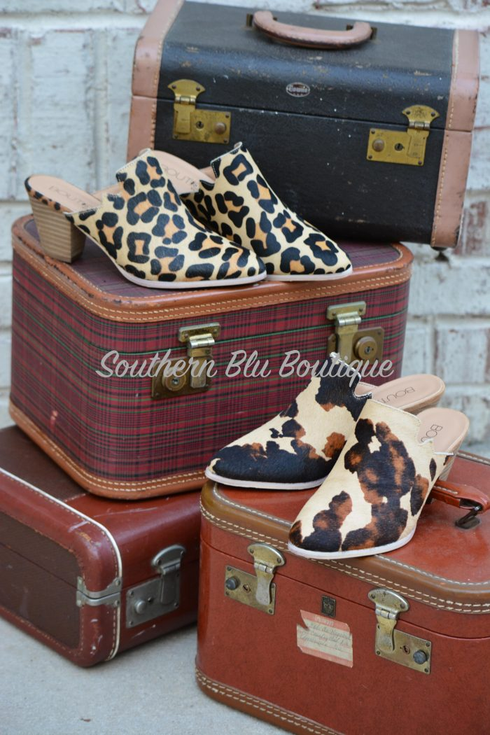 cow print shoes mules