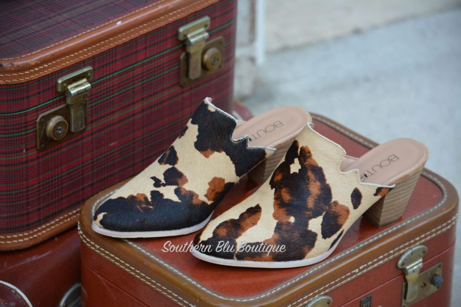 leather cow mule shoe wedge lexington