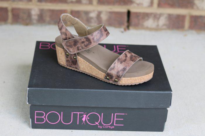 corkys distressed leopard low wedge velcro shoe