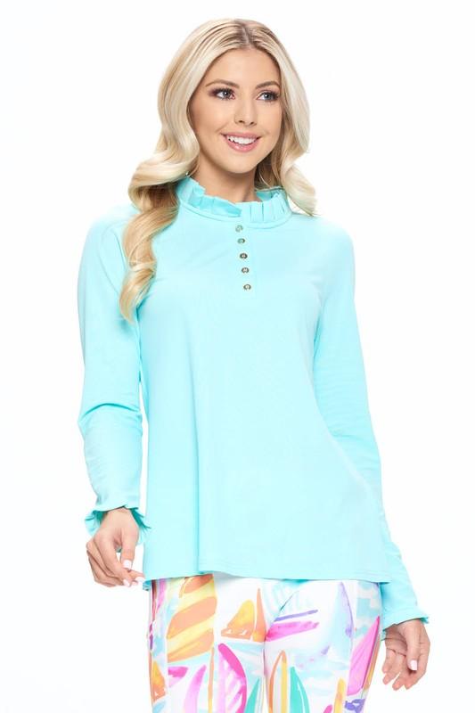 SPF blouse mint ruffle