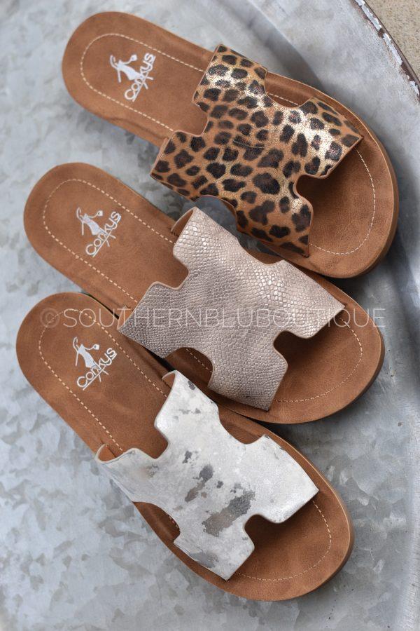 sandal leopard gold white metallic flats
