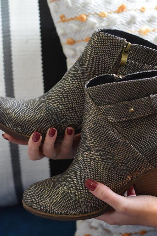 gun metal metallic boot shoes women's