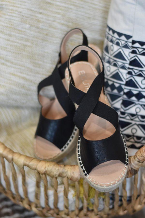 black espadrille wedge summer shoe strappy