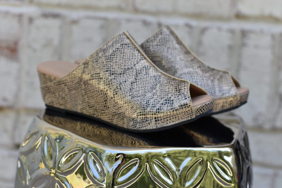 mules shoes gold snake clogs