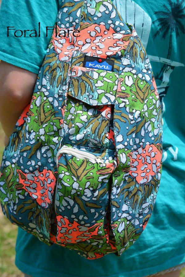 kavu rope bag floral pockets travel sling
