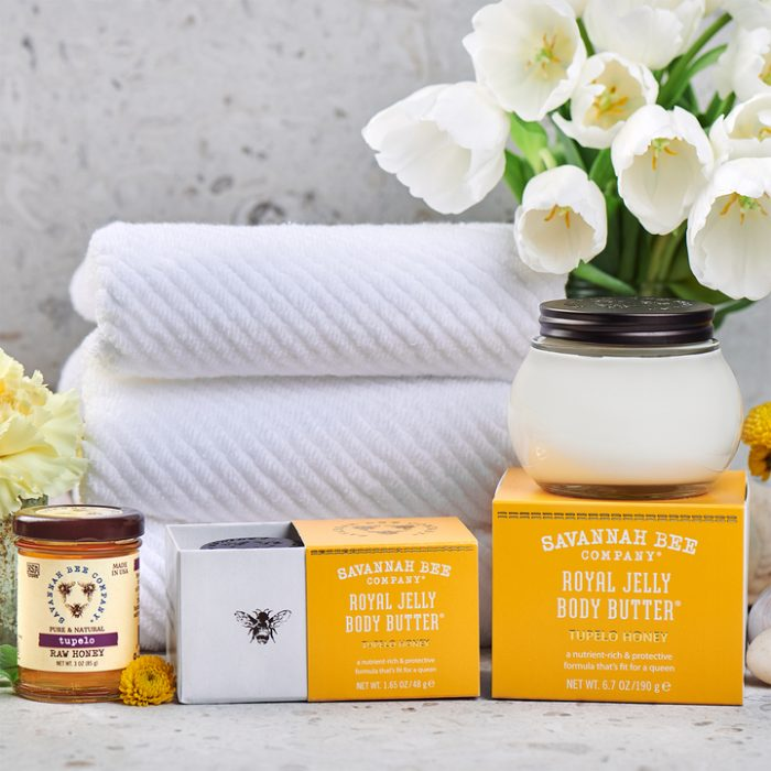 savannah bee tupelo royal jelly lotion body butter cream towels box flowers gift