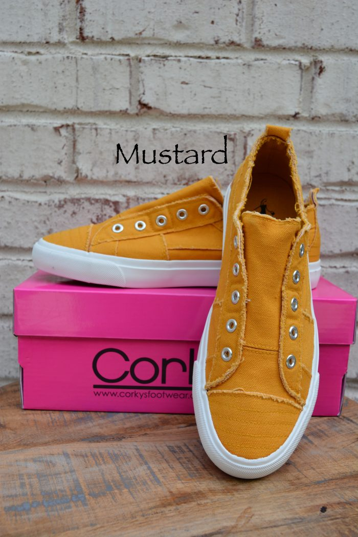 mustard laceless sneakers