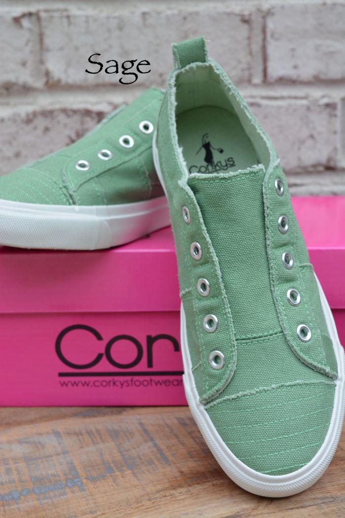 sage green laceless sneaker
