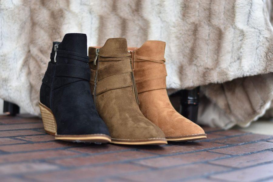 topknot boot camel black suede bootie
