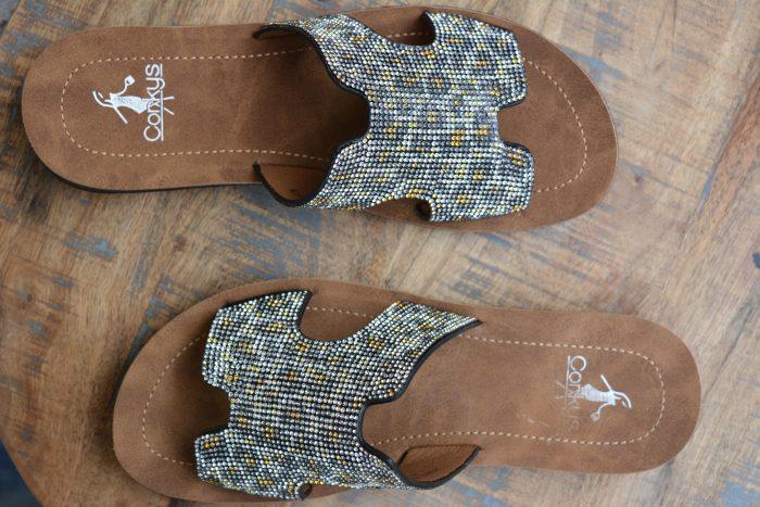 bling leopard sandal