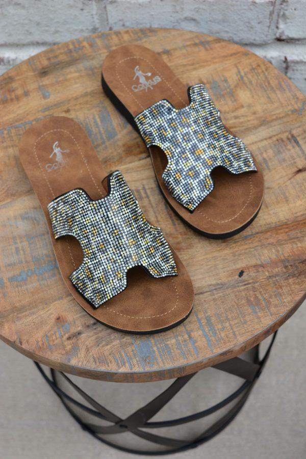 glitter bling leopard sandal