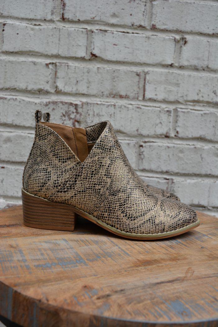 gold boot corkys shoe snake print